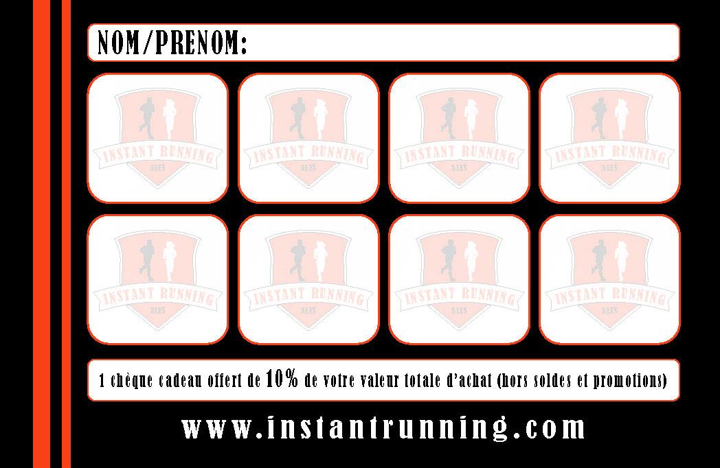 Carte de fidélité Instant Running Alès (verso), magasin spécialisé dans la vente d'articles de running