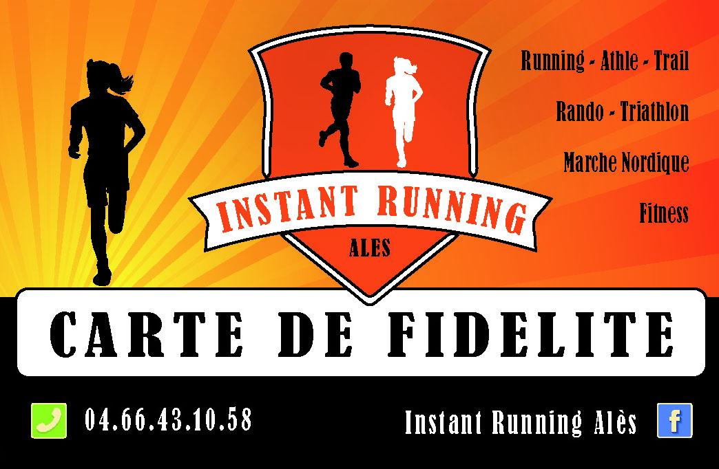 Carte de fidélité Instant Running Alès, magasin spécialisé dans la vente d'articles de running