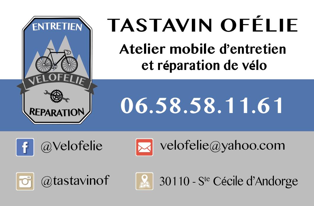 Carte de visite Vélofélie, atelier mobile d'entretien et réparation de vélos