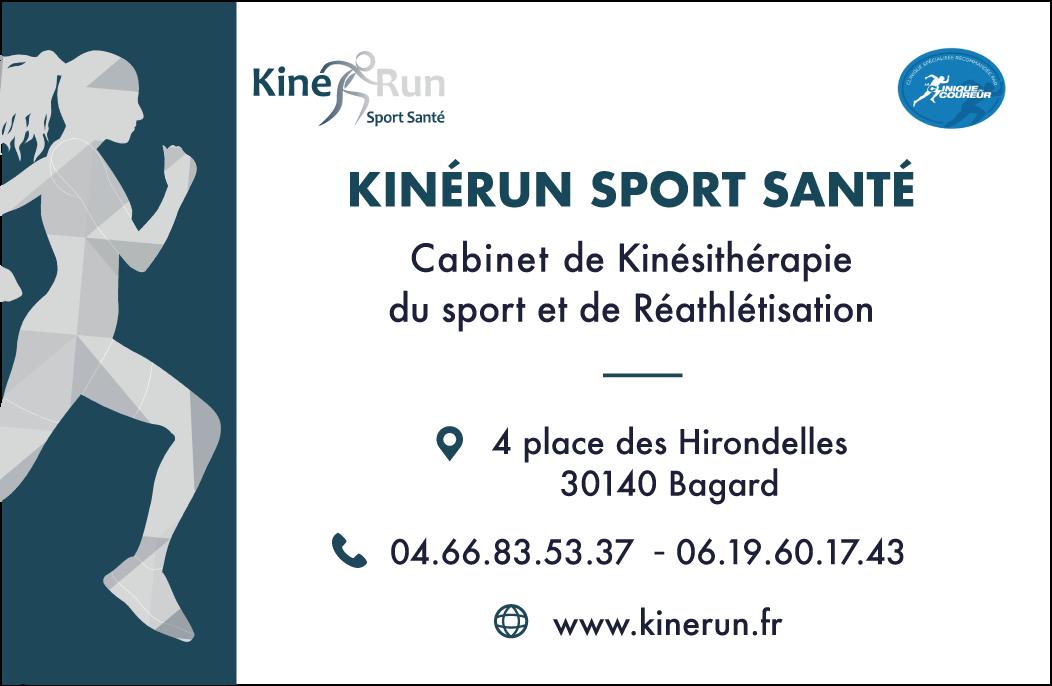 Carte de visite KinéRun Sport Santé, cabinet de Kinésithérapie du sport spécialisé dans la prise en charge du coureur, traumatologie du sport, orthopédie et réathlétisation.