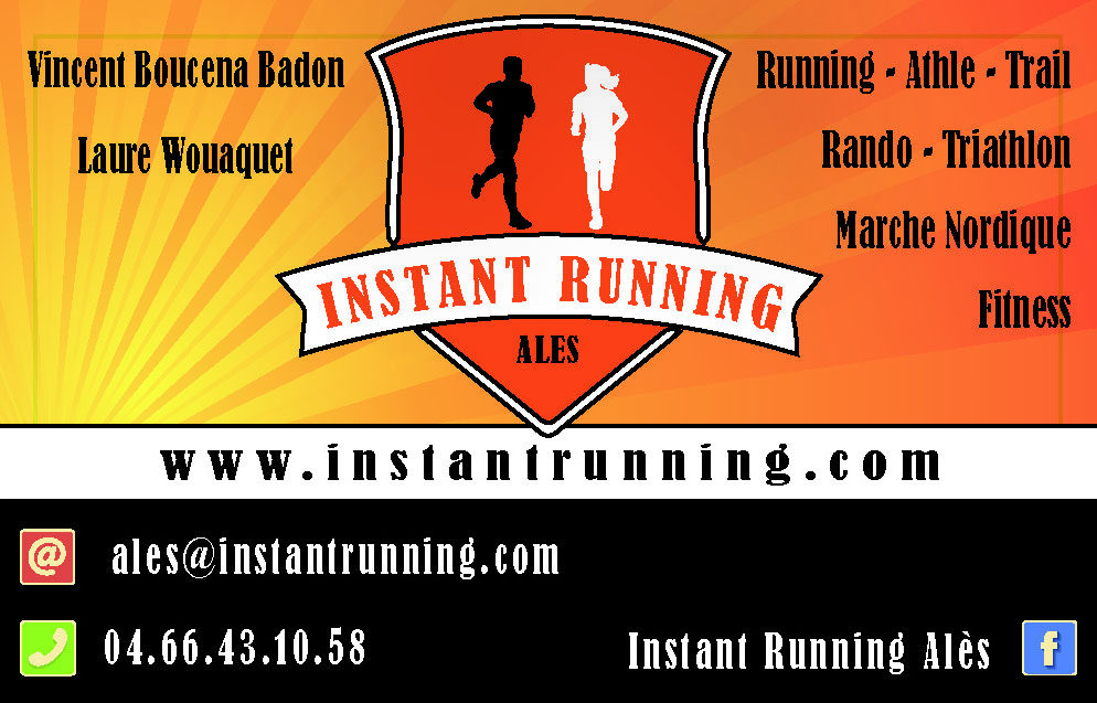 Carte de visite Instant Running Alès, magasin spécialisé dans la vente d'articles de running