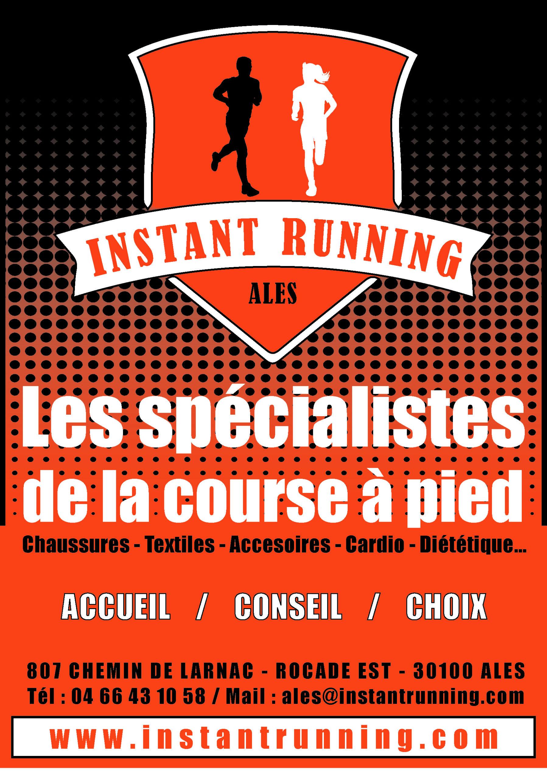 Flyer d'Instant Running Alès, magasin spécialisé dans la vente d'articles de running