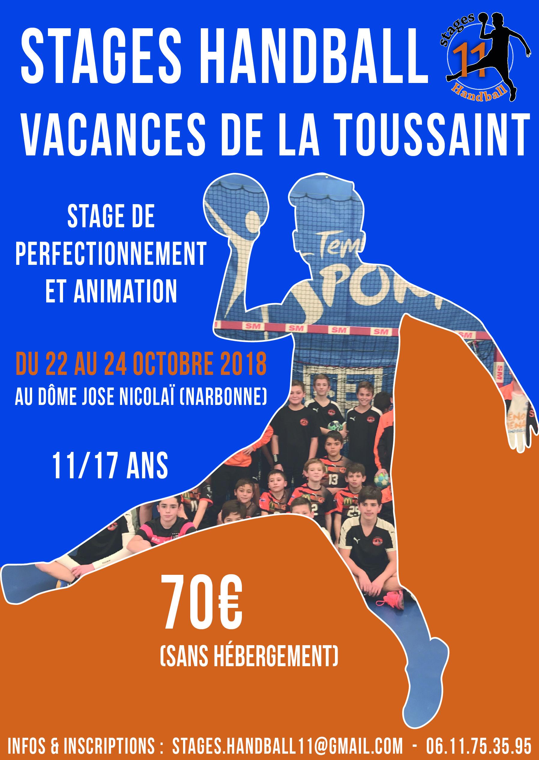 Flyer Stages Handball 11 dans l'Aude à Narbonne