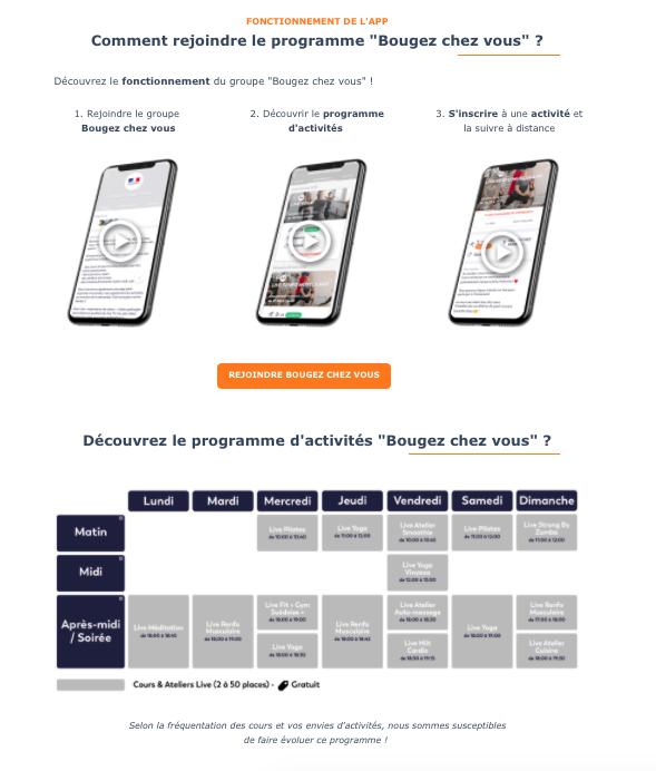 Landing Page de présentation Bougez Chez Vous, Sport et Bien-être en Live, pour le compte de Move Your Buddy