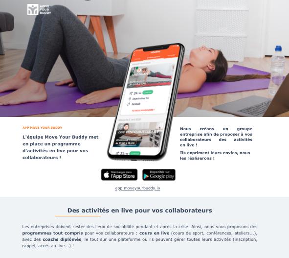 Landing Page de prospection Bougez Chez Vous, Sport et Bien-être en Live, pour le compte de Move Your Buddy