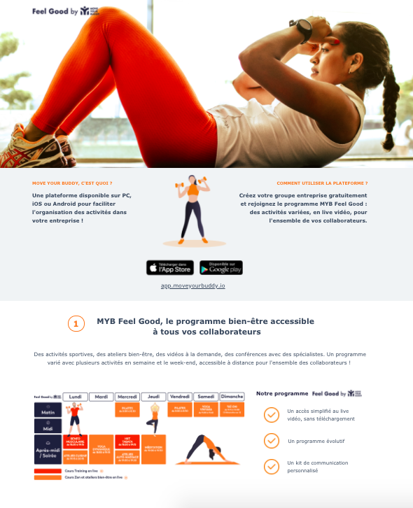 Landing Page de prospection MYB Feel Good, Sport et Bien-être en Live, pour le compte de Move Your Buddy