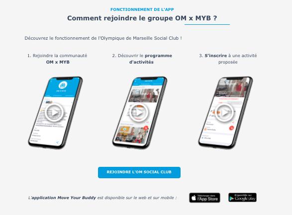 Landing Page de présentation du partenariat OM x Move Your Buddy pour des séances de sport à la carte sur Marseille