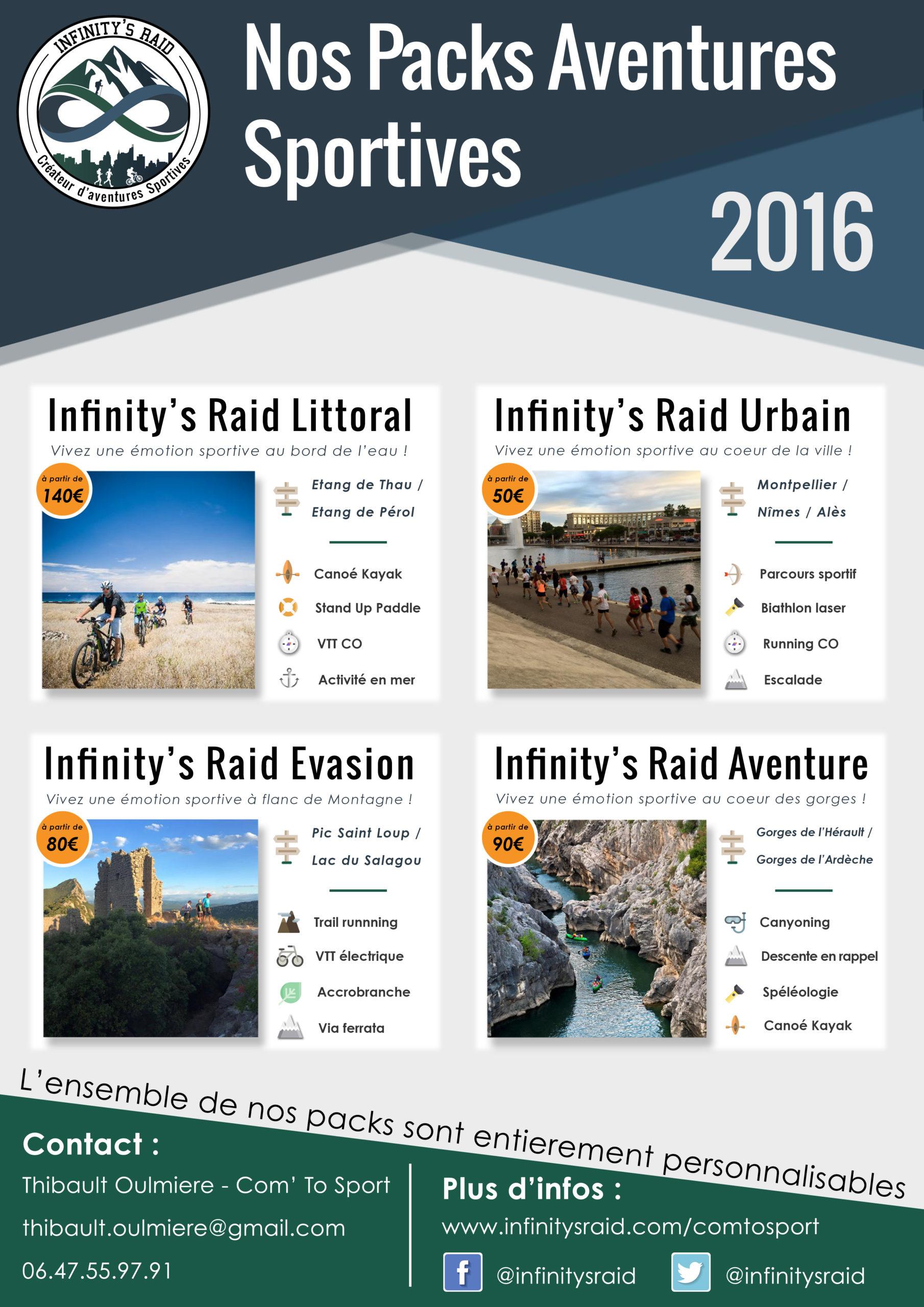 Plaquette commerciale d'Infinity's Raid, aventures sportives et Team Building
