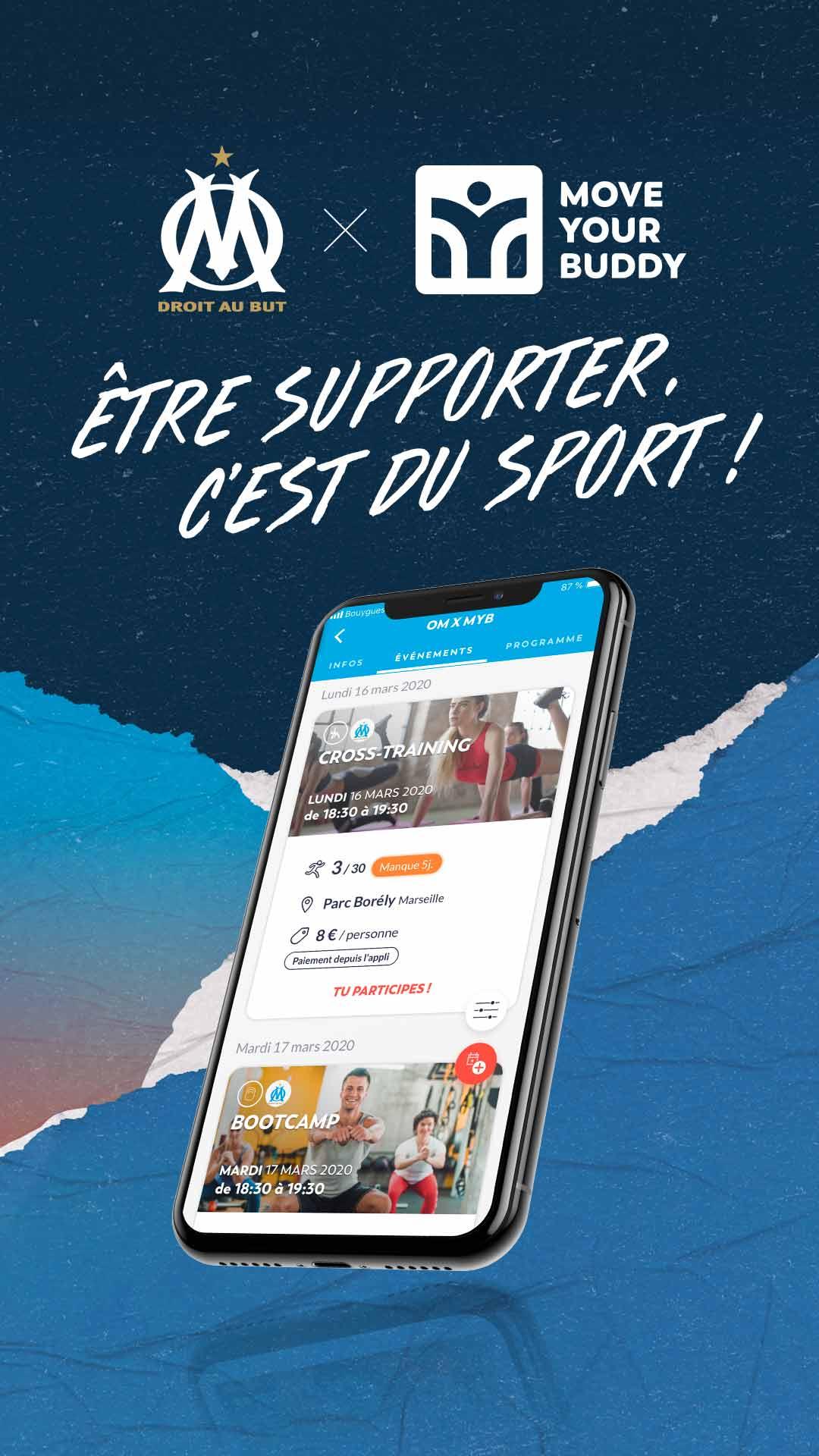 Visuel réseaux sociaux pour le partenariat OM x Move Your Buddy, pour des séances de sport à la carte sur Marseille